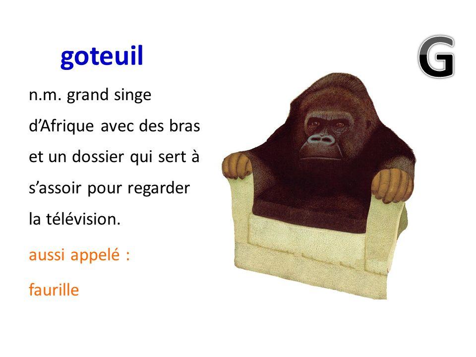 goteuil G. n.m. grand singe d'Afrique avec des bras et un dossier qui sert à s'assoir pour regarder la télévision.