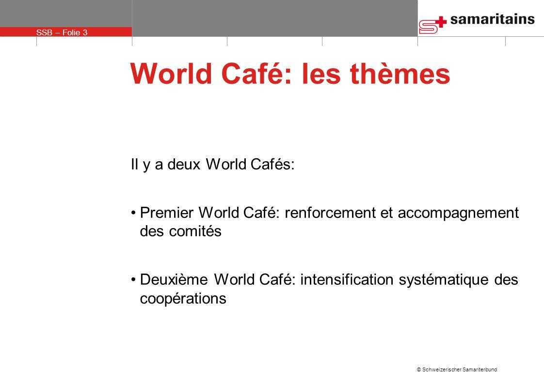 World Café: les thèmes Il y a deux World Cafés: