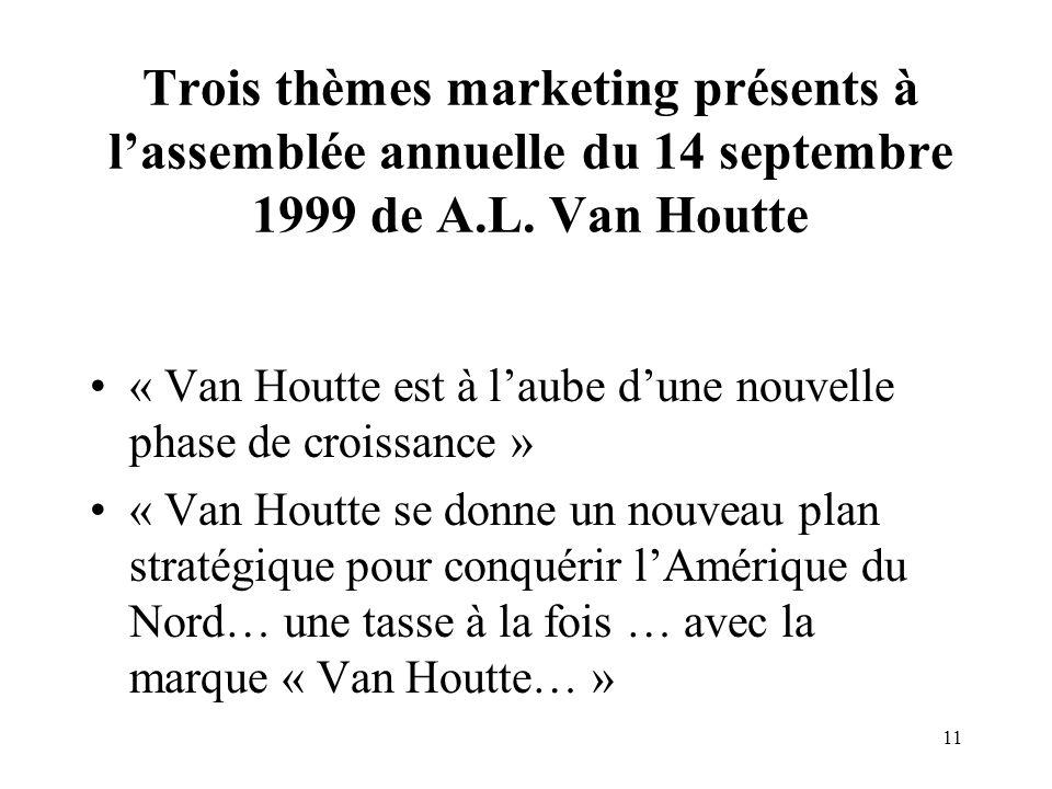 Trois thèmes marketing présents à l'assemblée annuelle du 14 septembre 1999 de A.L. Van Houtte
