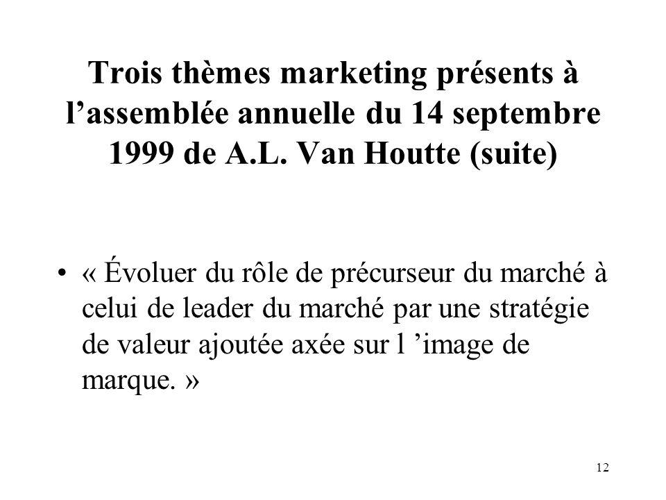 Trois thèmes marketing présents à l'assemblée annuelle du 14 septembre 1999 de A.L. Van Houtte (suite)