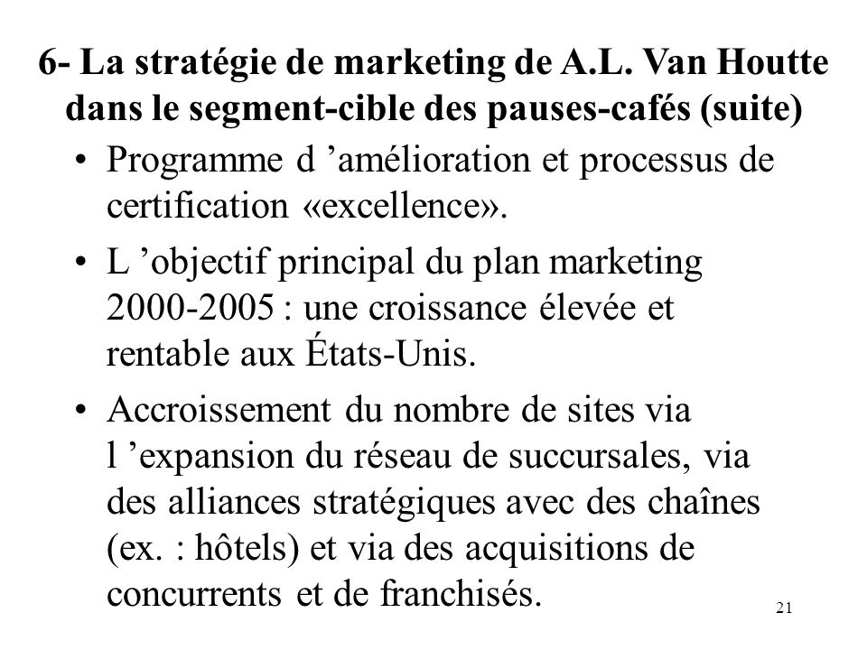 6- La stratégie de marketing de A. L
