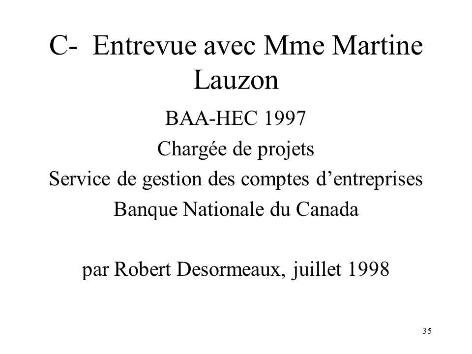 C- Entrevue avec Mme Martine Lauzon