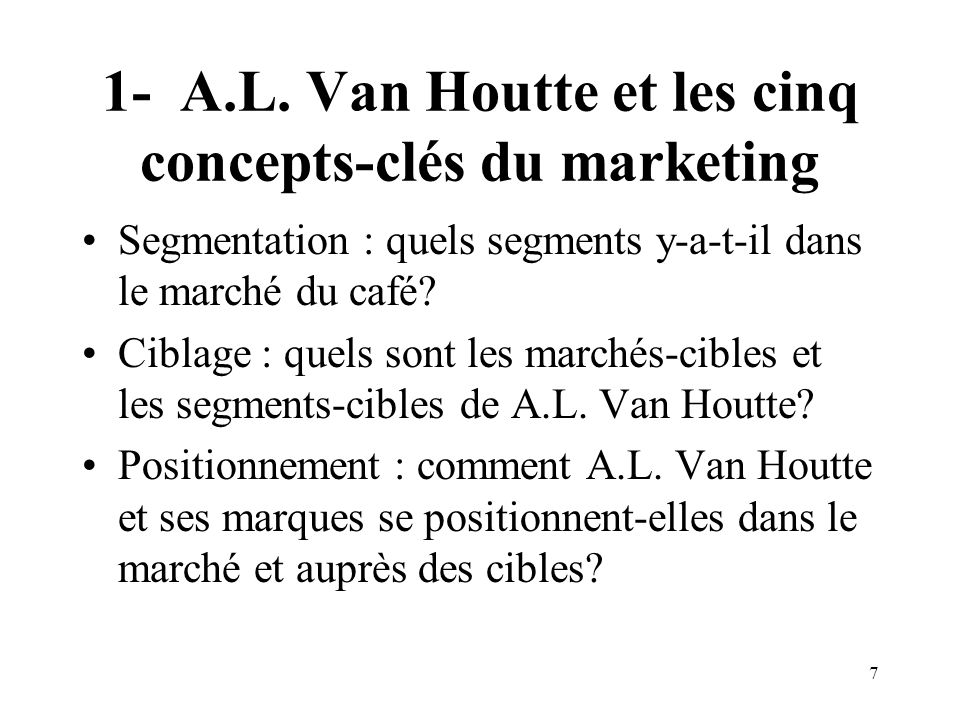 1- A.L. Van Houtte et les cinq concepts-clés du marketing
