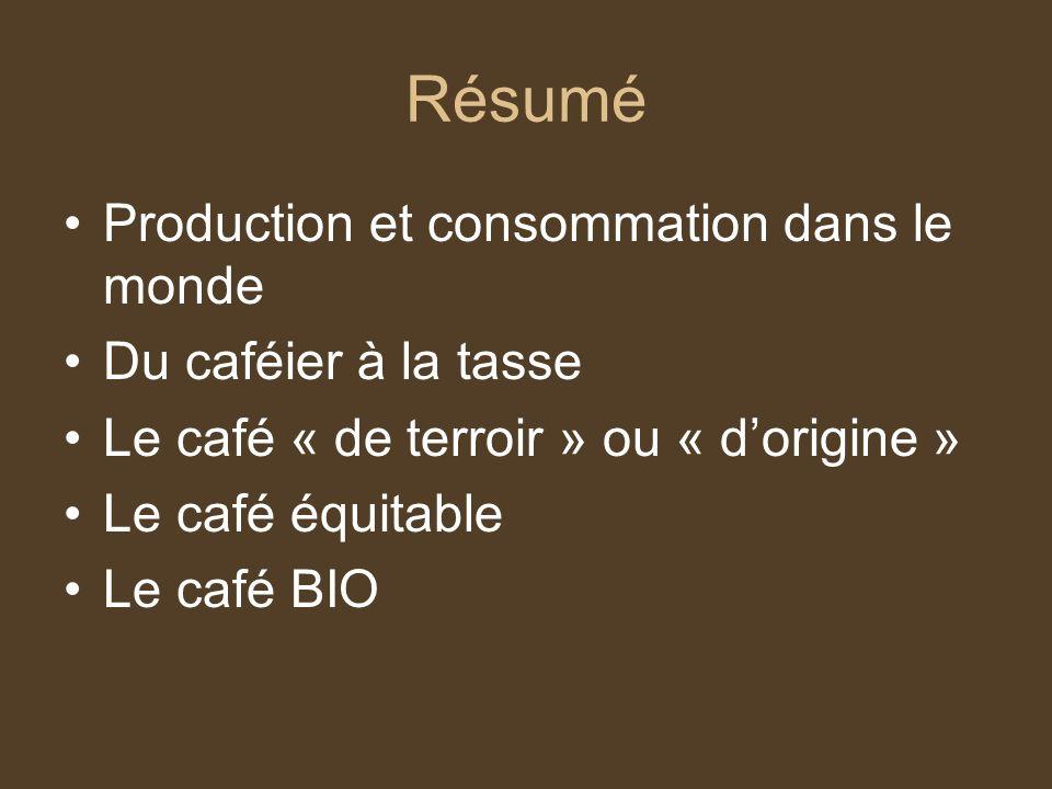 Résumé Production et consommation dans le monde Du caféier à la tasse