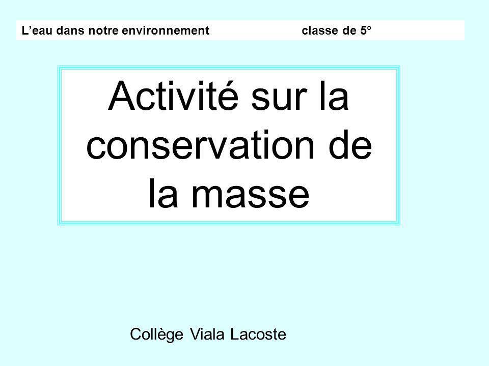 Activité sur la conservation de la masse