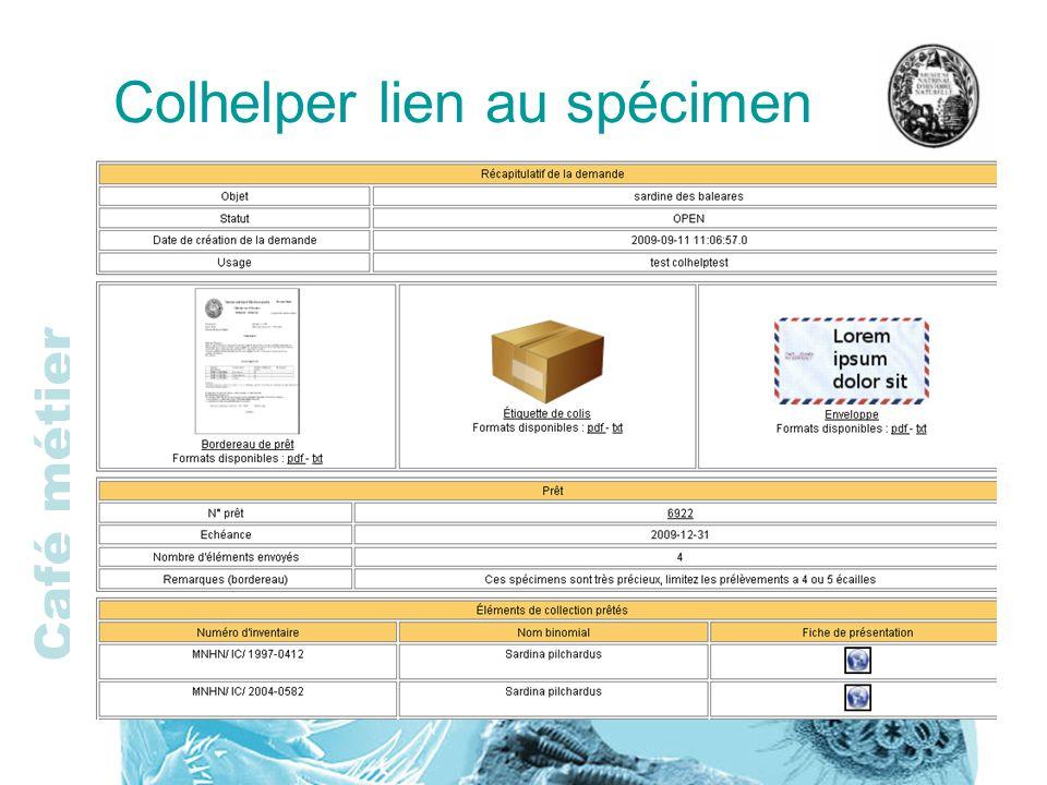 Colhelper lien au spécimen