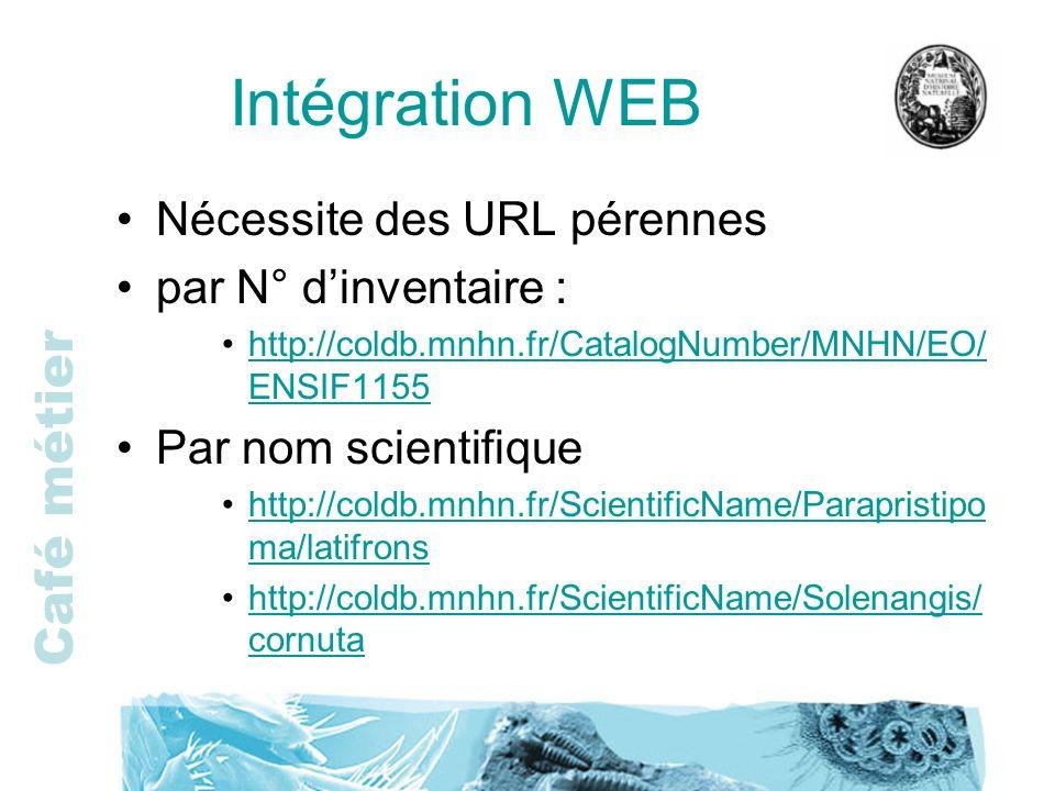 Intégration WEB Nécessite des URL pérennes par N° d'inventaire :
