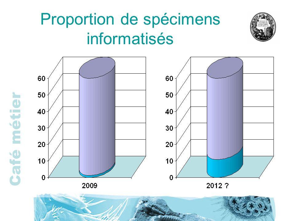 Proportion de spécimens informatisés