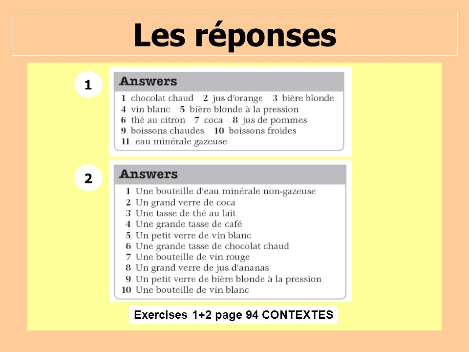 Exercises 1+2 page 94 CONTEXTES