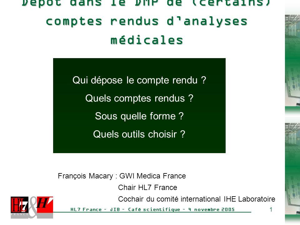 Dépôt dans le DMP de (certains) comptes rendus d'analyses médicales