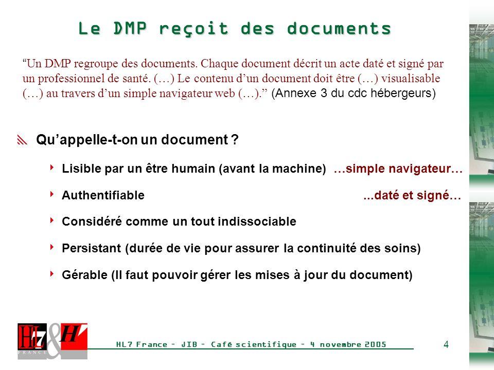 Le DMP reçoit des documents