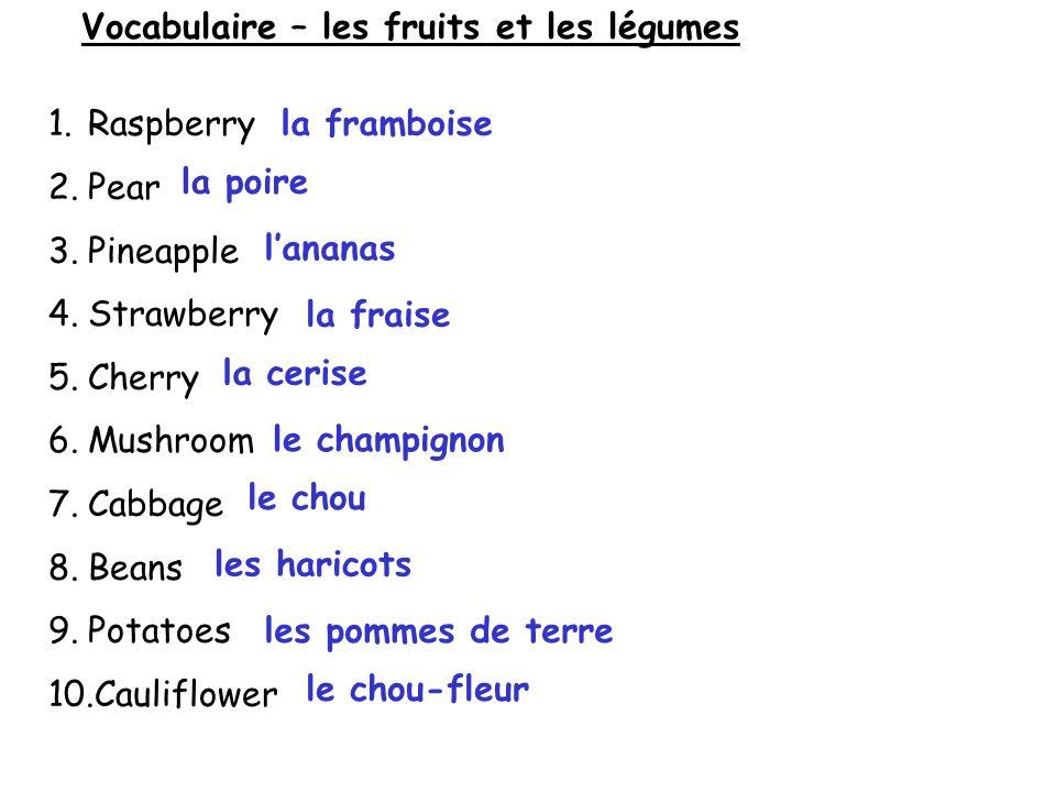 Vocabulaire – les fruits et les légumes