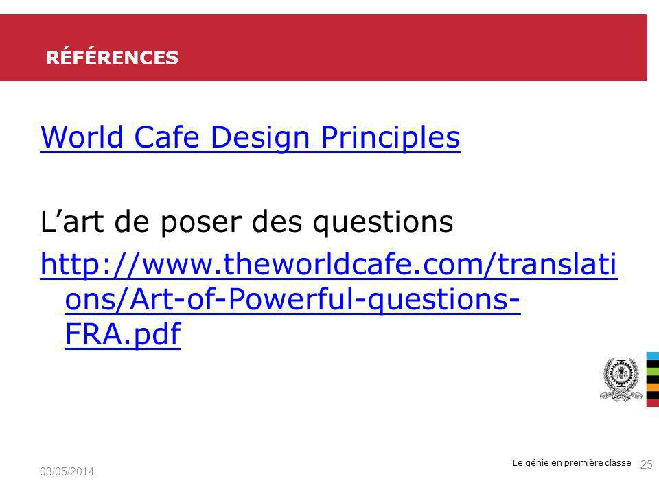 Références World Cafe Design Principles L'art de poser des questions http://www.theworldcafe.com/translations/Art-of-Powerful-questions-FRA.pdf