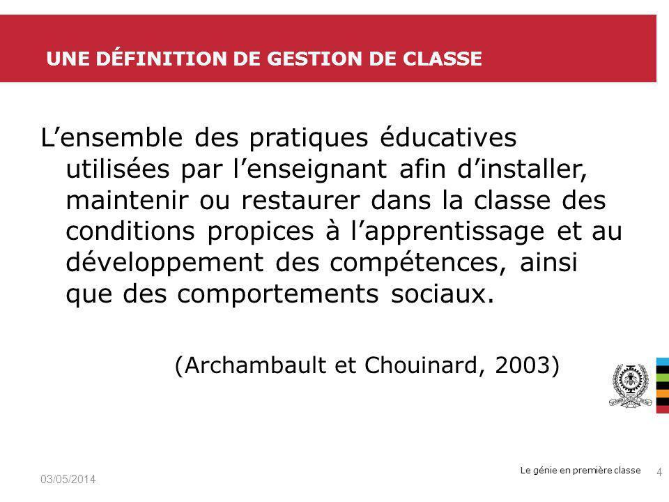 Une définition de gestion de classe