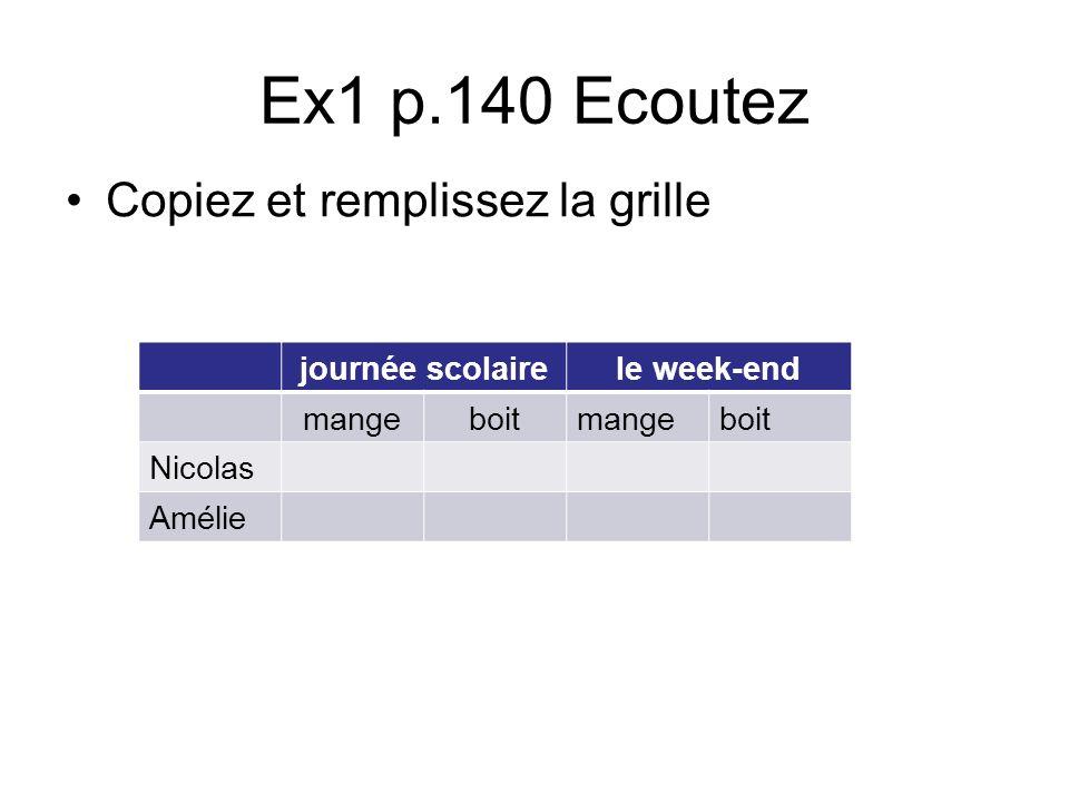 Ex1 p.140 Ecoutez Copiez et remplissez la grille journée scolaire