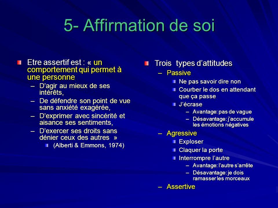 5- Affirmation de soi Etre assertif est : « un comportement qui permet à une personne. D'agir au mieux de ses intérêts,
