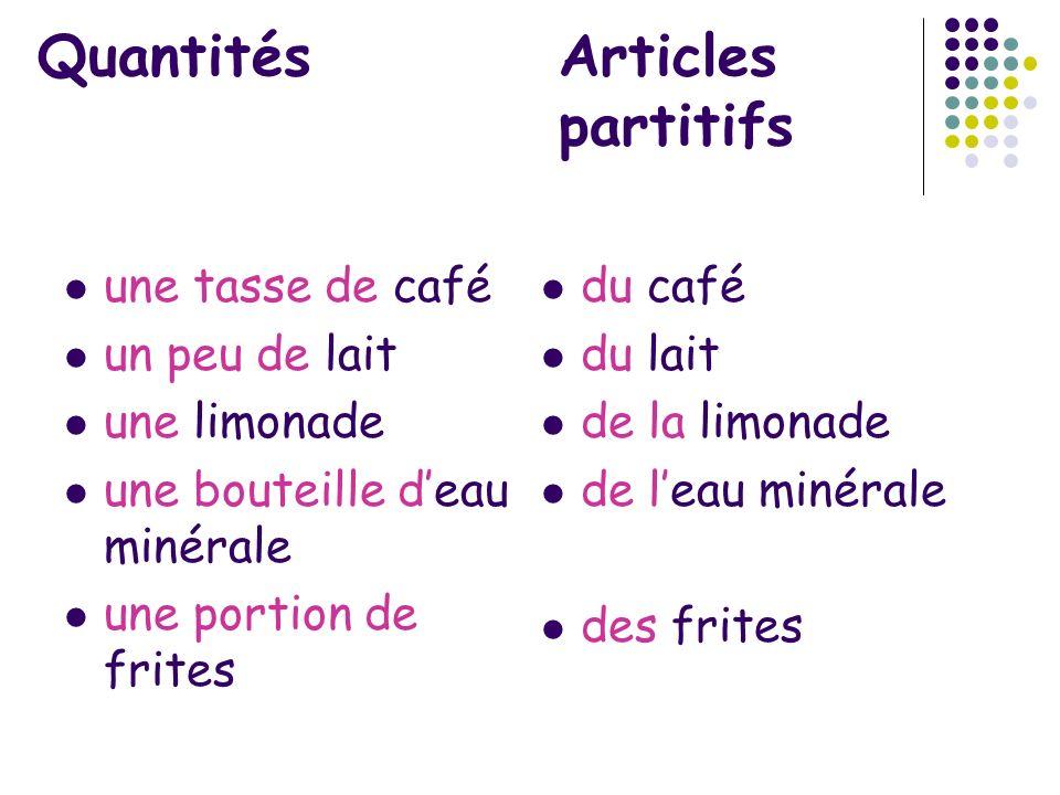 Quantités Articles partitifs