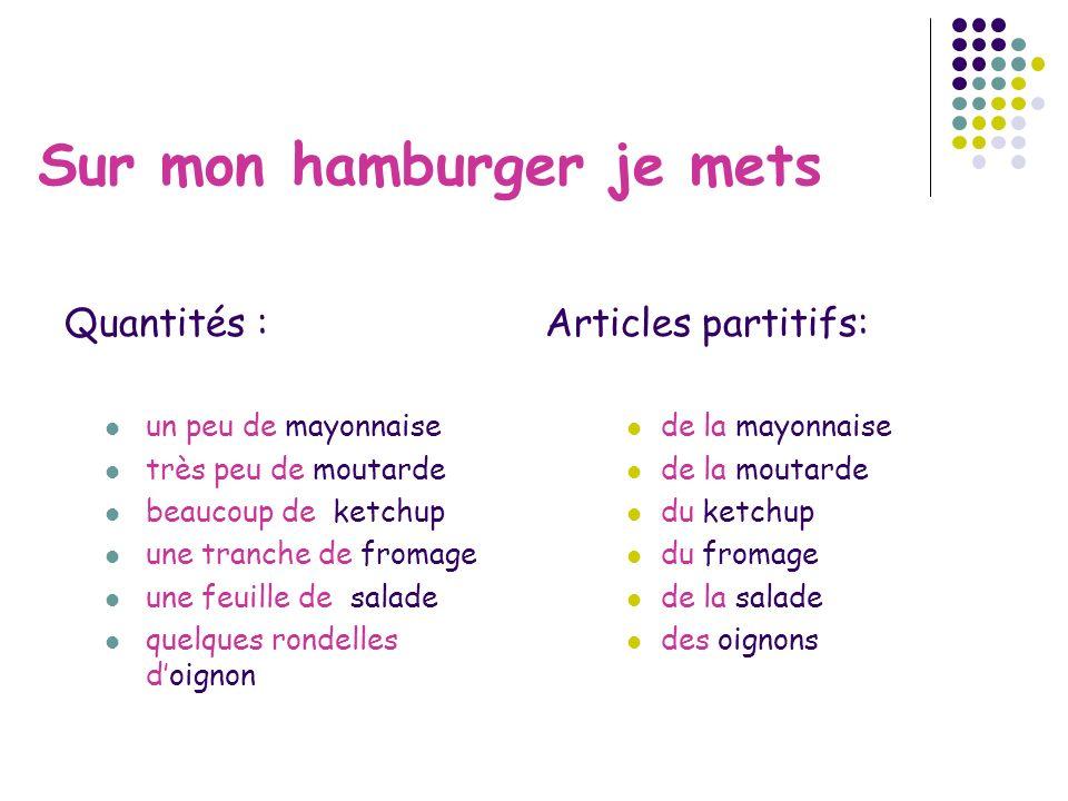 Sur mon hamburger je mets