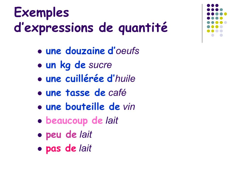 Exemples d'expressions de quantité