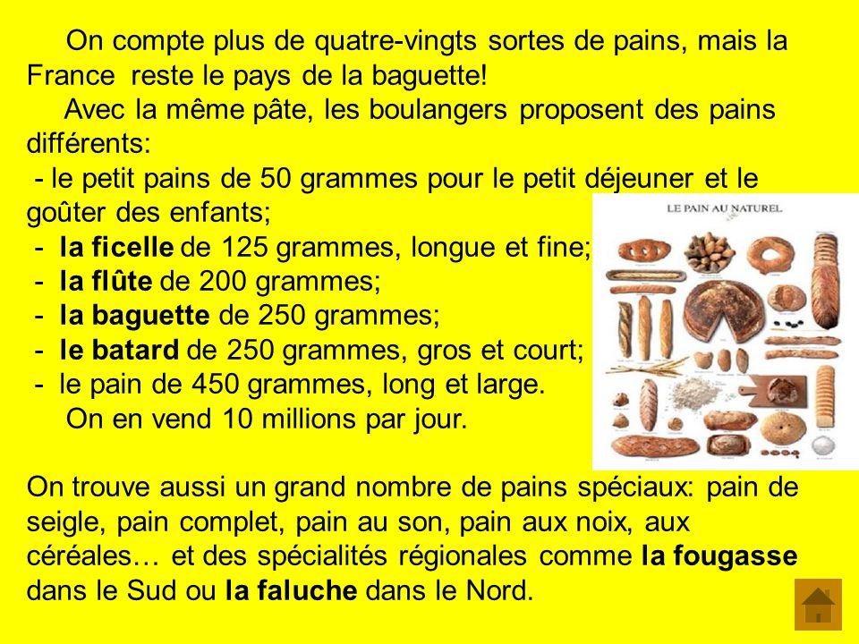 On compte plus de quatre-vingts sortes de pains, mais la France reste le pays de la baguette!