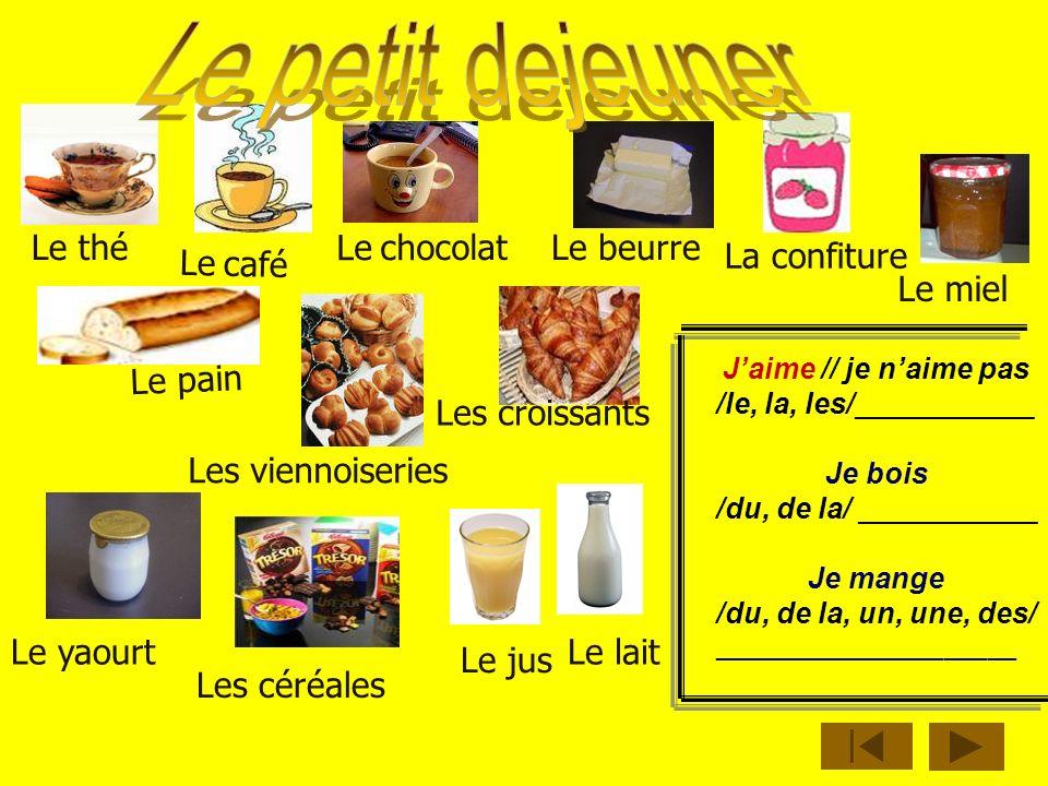 Le petit dejeuner Le thé Le chocolat Le beurre La confiture Le café
