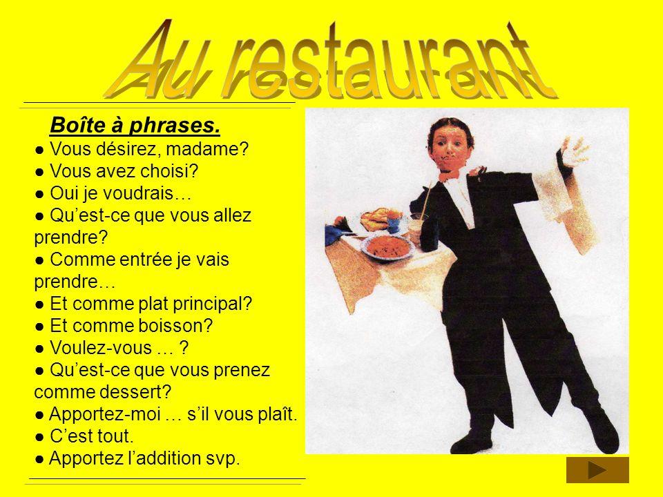 Au restaurant Boîte à phrases. ● Vous désirez, madame