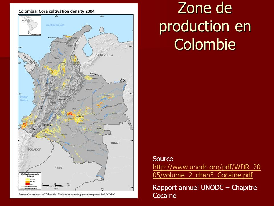 Zone de production en Colombie