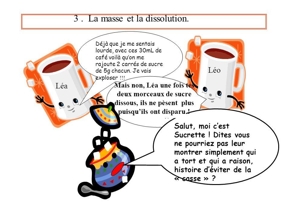 3 . La masse et la dissolution.