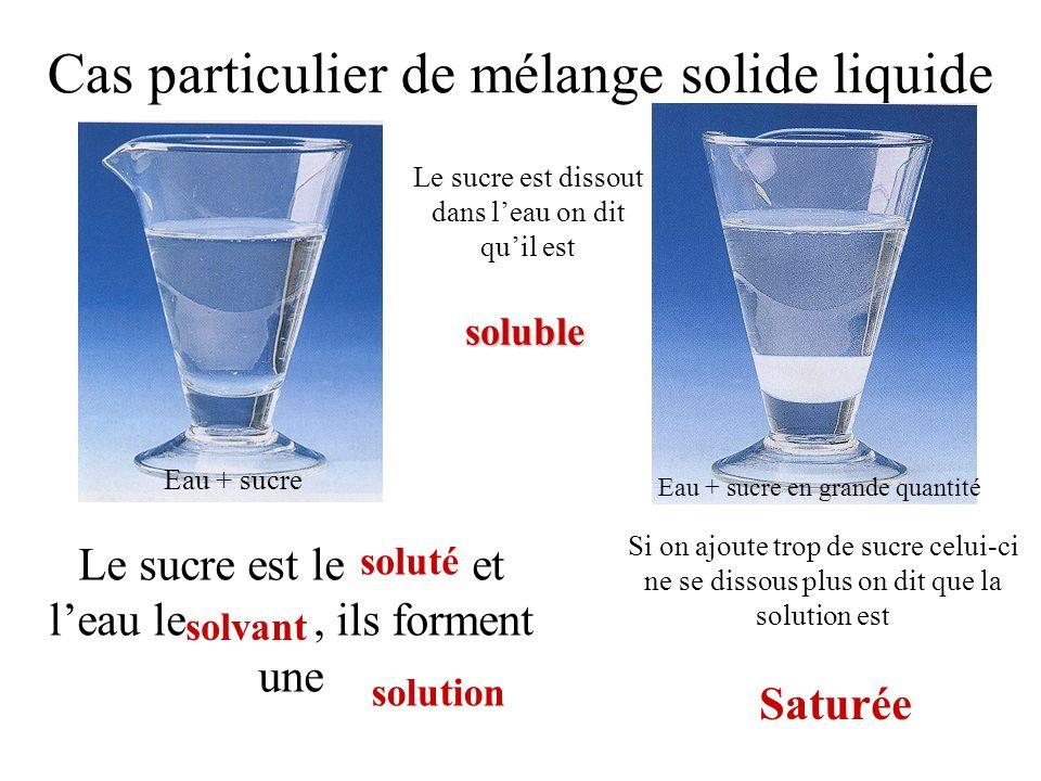 Cas particulier de mélange solide liquide