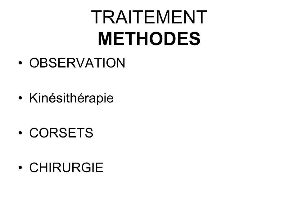 TRAITEMENT METHODES OBSERVATION Kinésithérapie CORSETS CHIRURGIE
