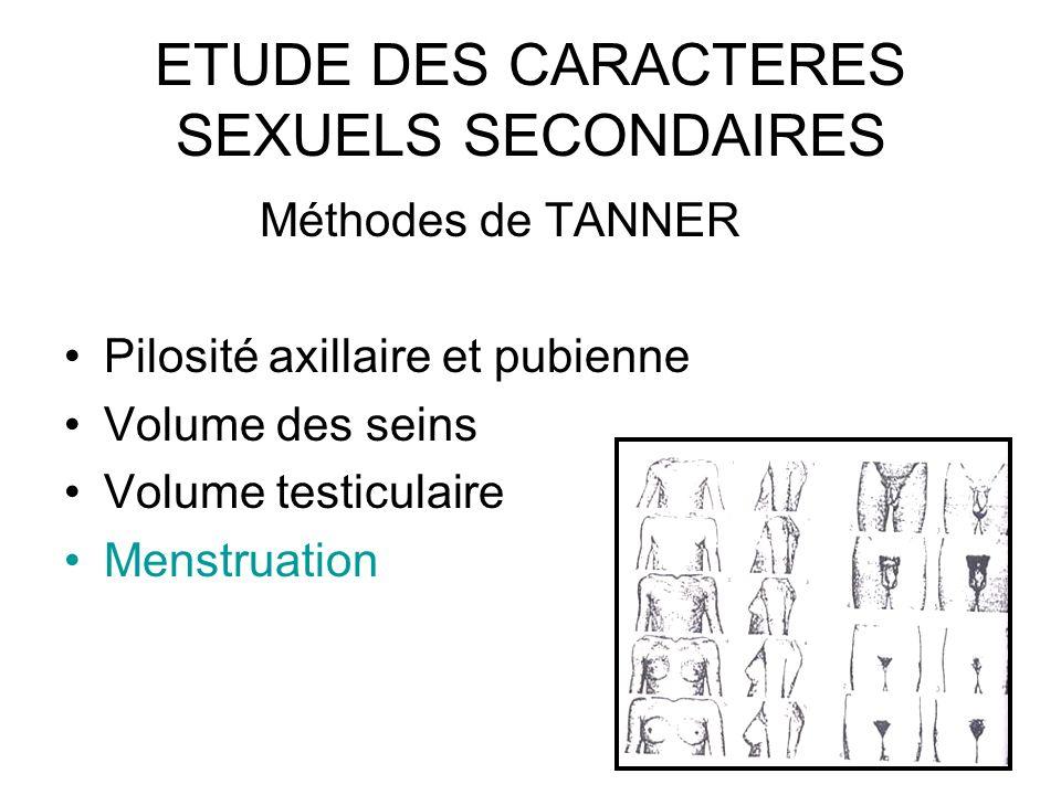 ETUDE DES CARACTERES SEXUELS SECONDAIRES