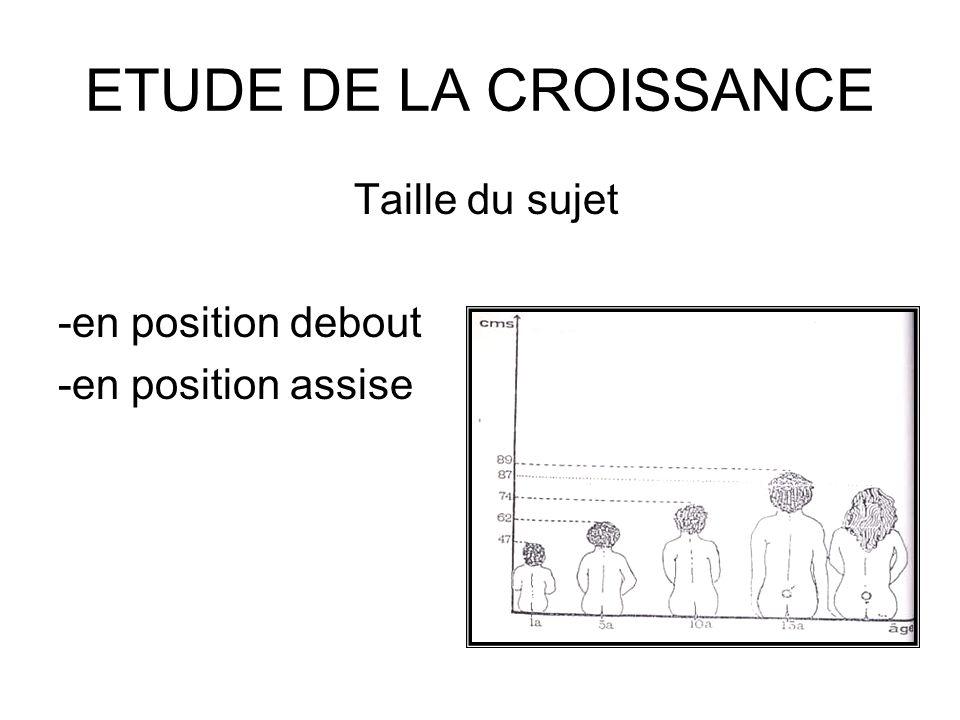 ETUDE DE LA CROISSANCE Taille du sujet -en position debout