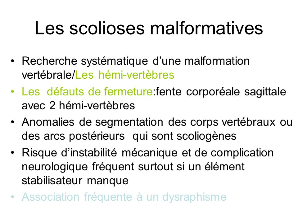 Les scolioses malformatives