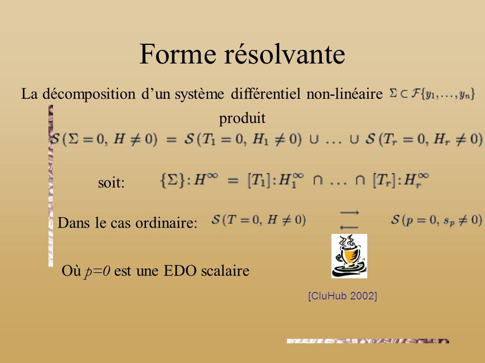 Forme résolvante La décomposition d'un système différentiel non-linéaire. produit. soit: Dans le cas ordinaire: