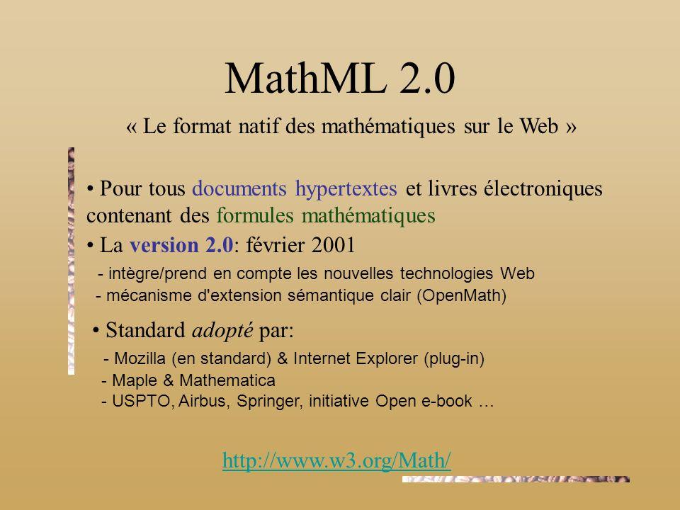 MathML 2.0 « Le format natif des mathématiques sur le Web »