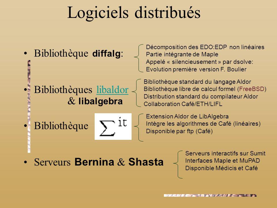 Logiciels distribués Bibliothèque diffalg: Bibliothèques libaldor