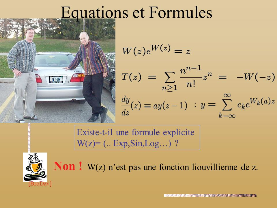 Equations et Formules Fonction de Lambert (1758) : : • Combinatoire: • Equations à retard: