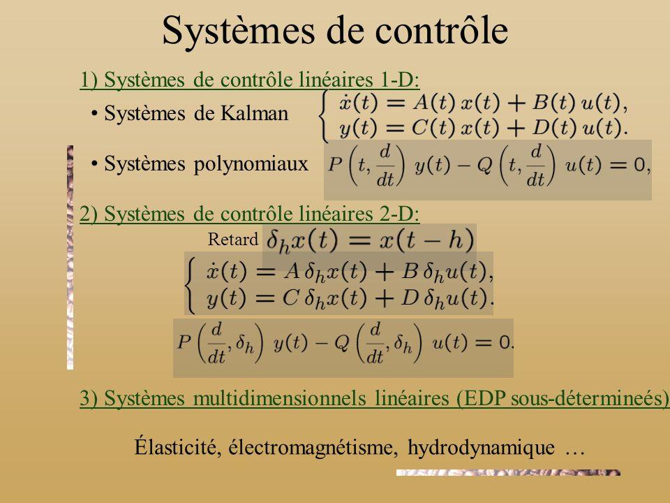 Systèmes de contrôle 1) Systèmes de contrôle linéaires 1-D: