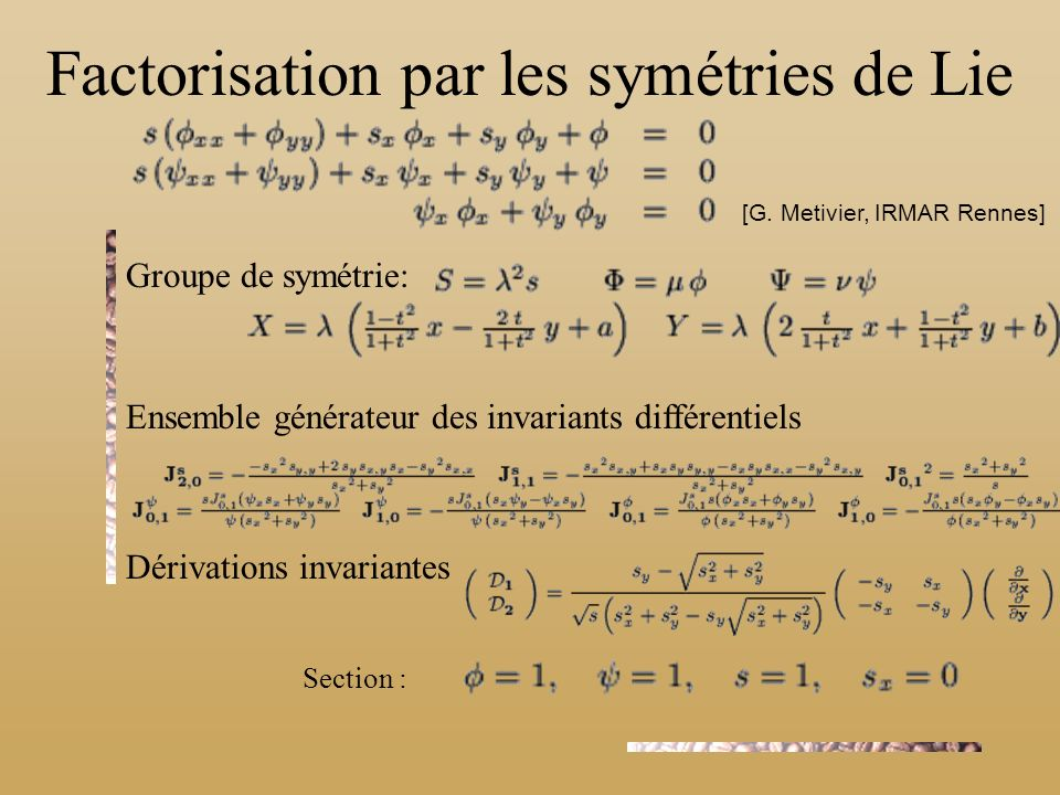 Factorisation par les symétries de Lie