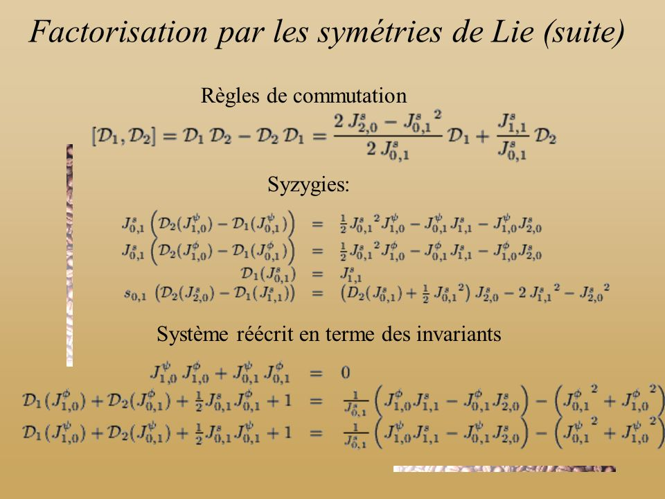 Factorisation par les symétries de Lie (suite)