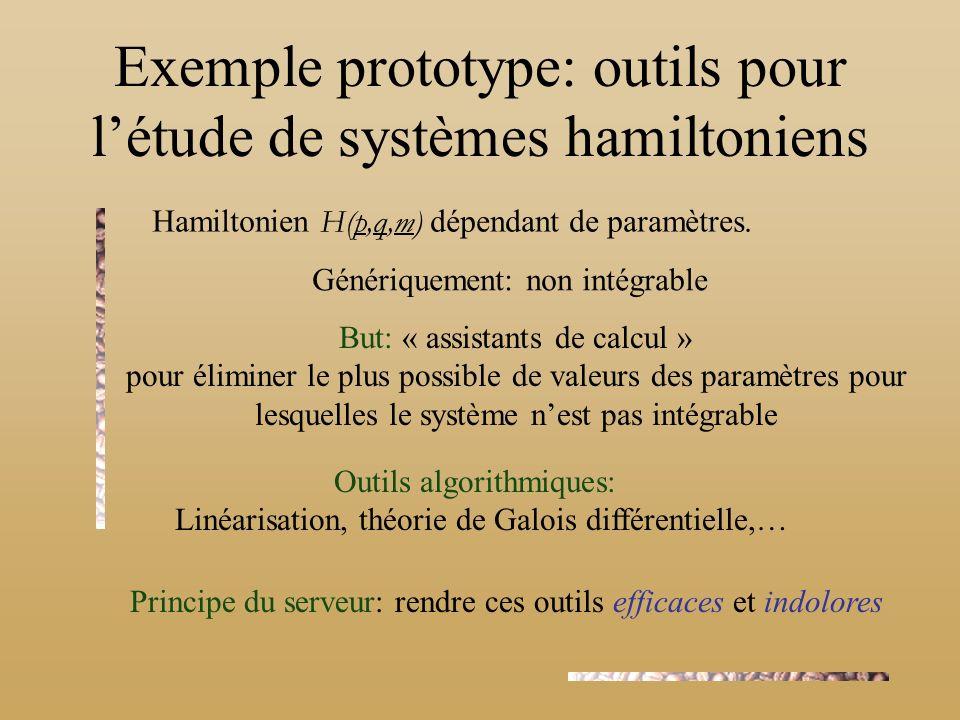 Exemple prototype: outils pour l'étude de systèmes hamiltoniens