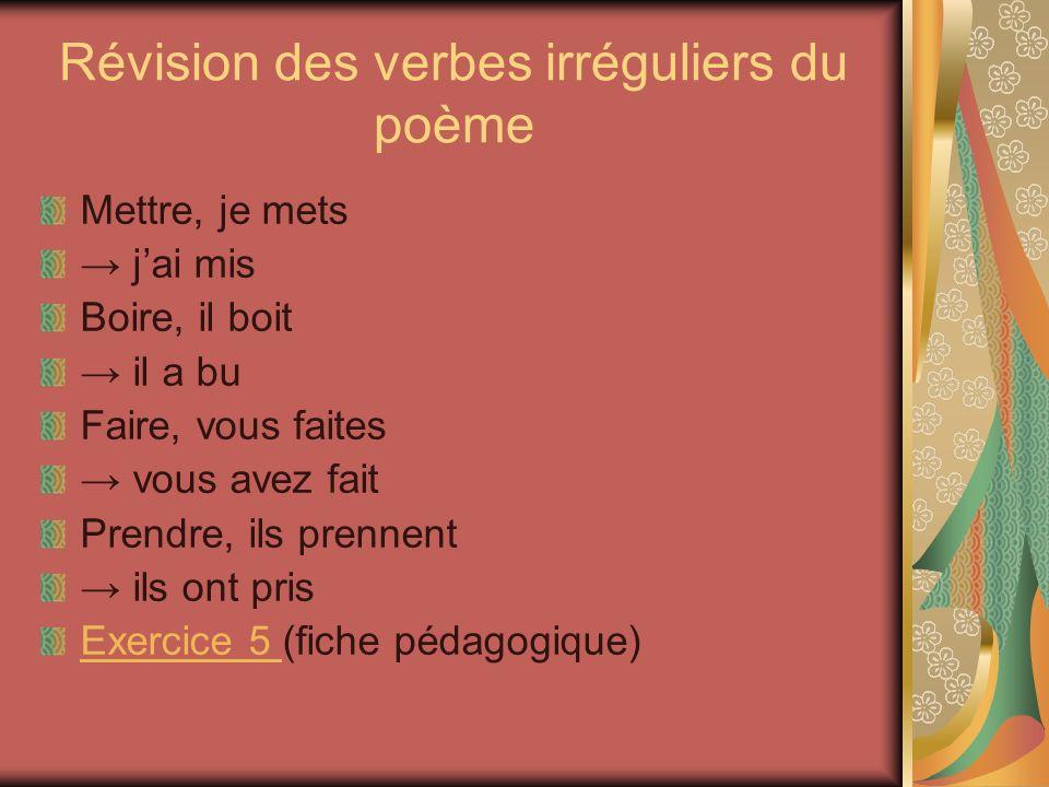 Révision des verbes irréguliers du poème