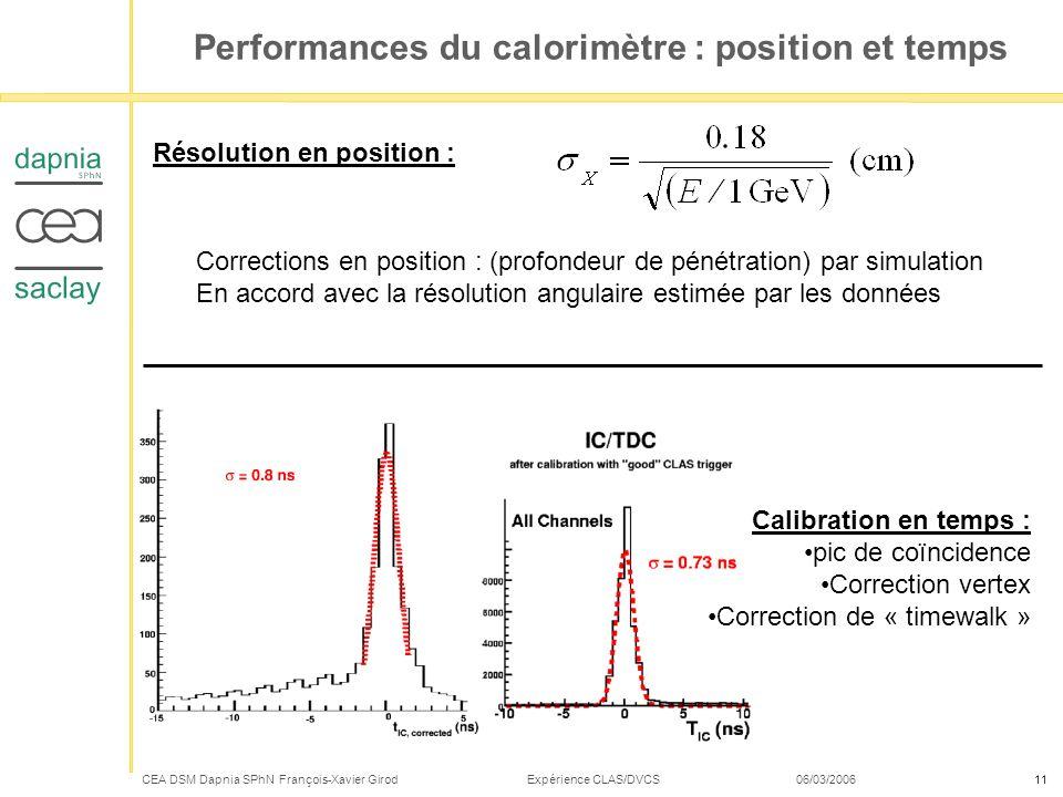 Performances du calorimètre : position et temps