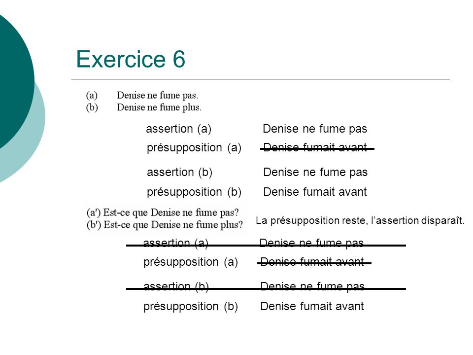 Exercice 6 assertion (a) Denise ne fume pas présupposition (a)