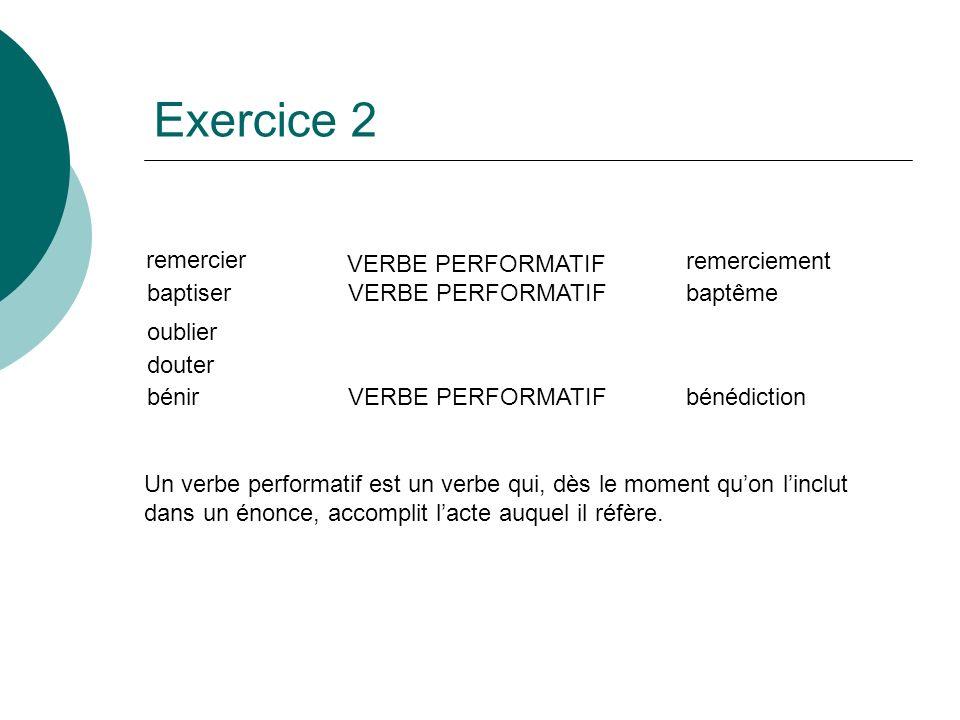 Exercice 2 remercier VERBE PERFORMATIF remerciement baptiser