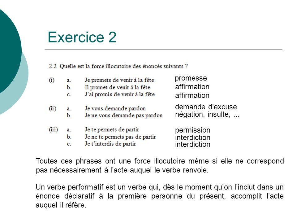 Exercice 2 promesse affirmation affirmation demande d'excuse