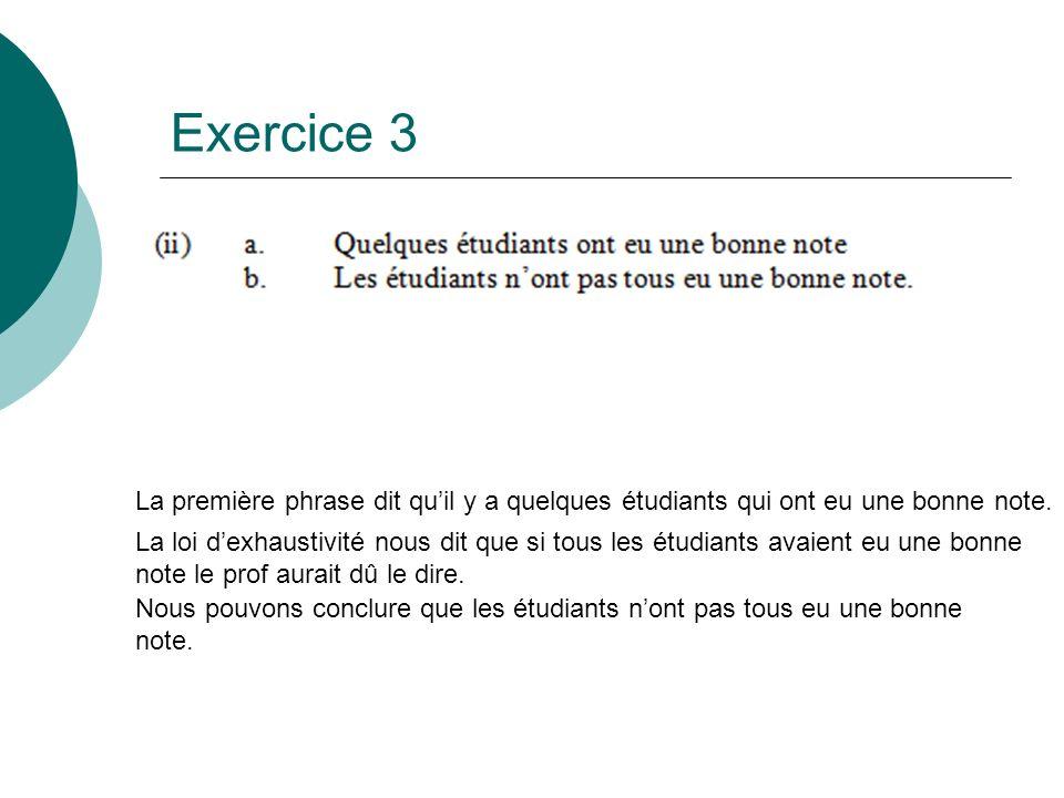 Exercice 3 La première phrase dit qu'il y a quelques étudiants qui ont eu une bonne note.