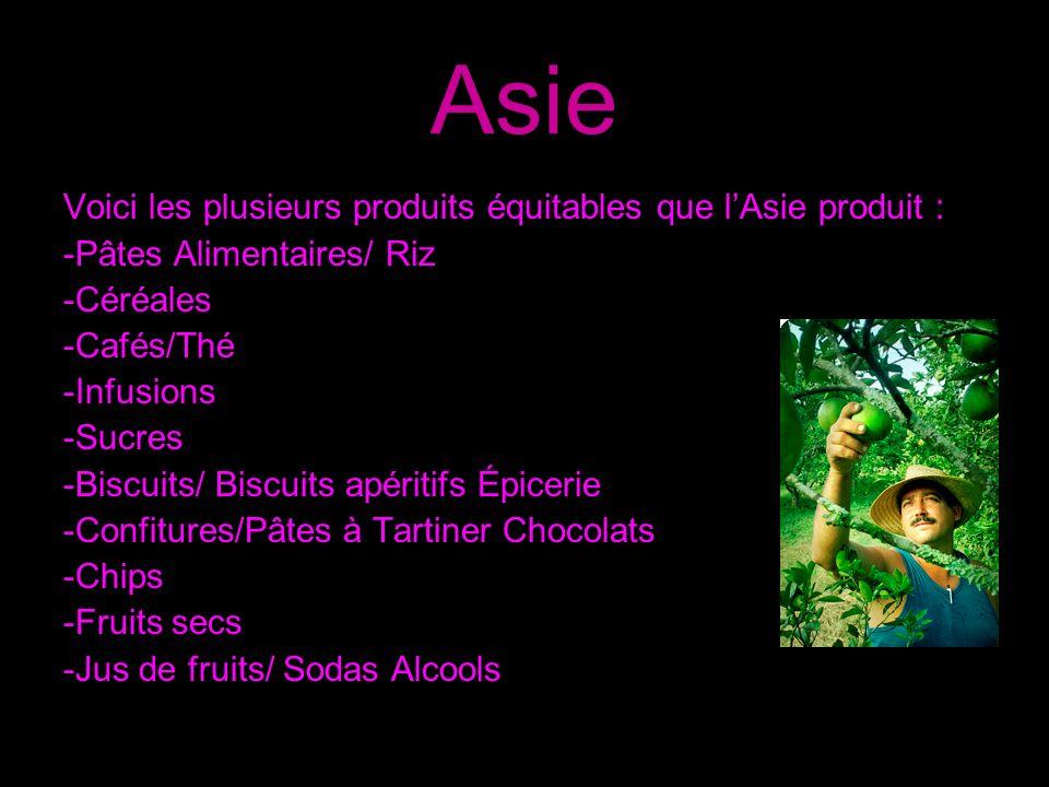 Asie Voici les plusieurs produits équitables que l'Asie produit :