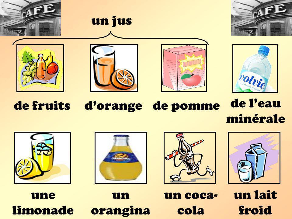 un jus de l'eau minérale. de fruits. d'orange. de pomme. une limonade. un orangina. un coca-cola.