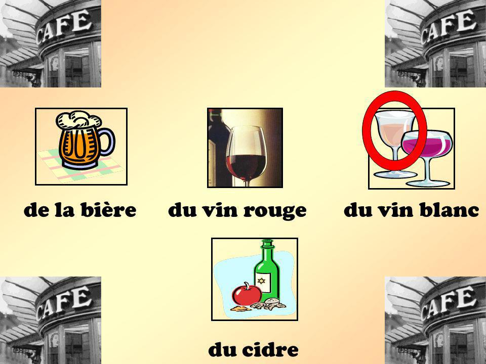 de la bière du vin rouge du vin blanc du cidre